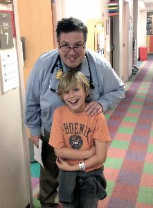 Ronan and Dr. Henry today at his last appointment!